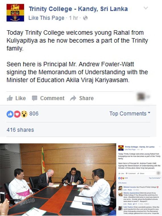 Trinity Collage Kandy Makes Amazing Facebook Post about Kuliyapitiya Student