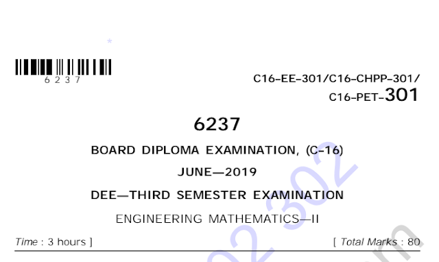 Engineering Mathematics-2 Old question papers c16 eee june 2019 | sbtetworld