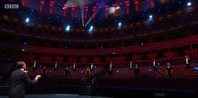 BBC Proms - Nicholas Chalmers & BBC Singers (image from live feed)