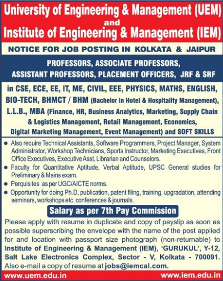 UEM Kolkata/Jaipur Biotech Faculty Jobs 2021