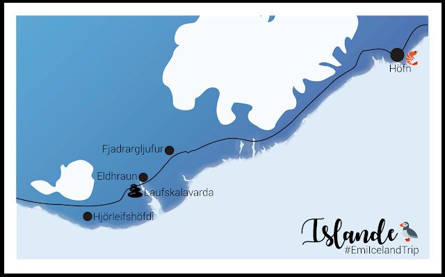 My Travel Background : le sud de l'Islande, de Vik à Höfn - map