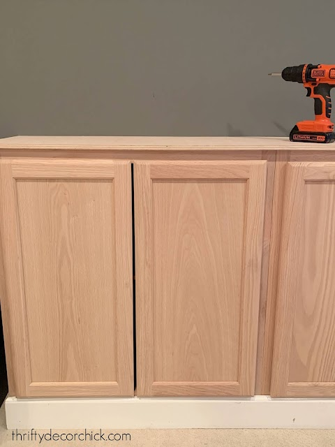birch wood counters on cabinets