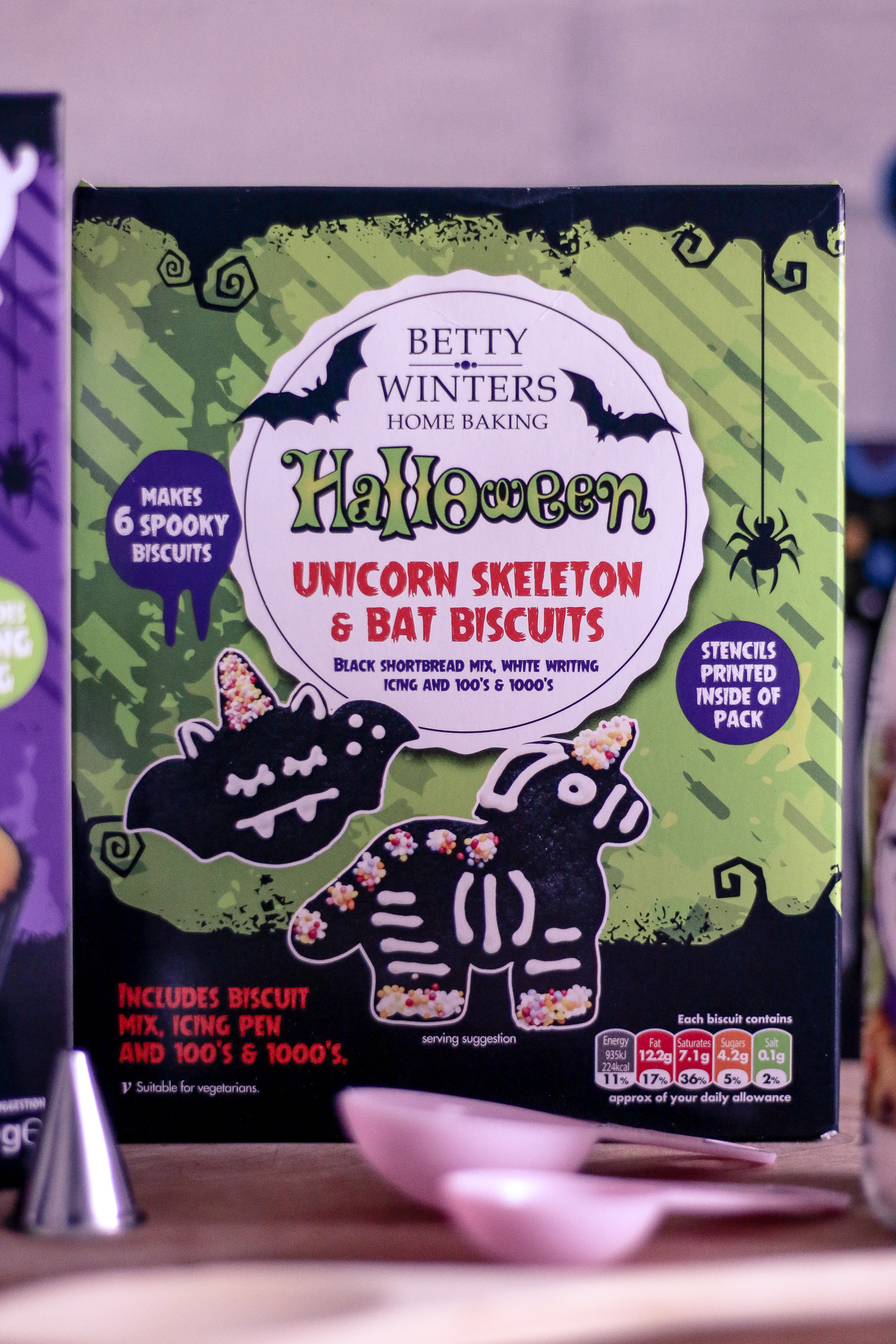 Close up photo of the Betty winters home baking Halloween unicorn skeleton & bat biscuits box