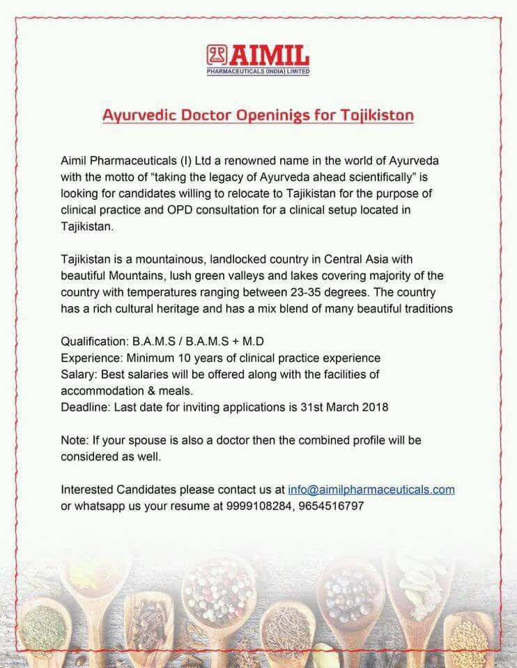Ayurveda Jobs: Vacancy for Ayurveda Doctor, Tajikstan