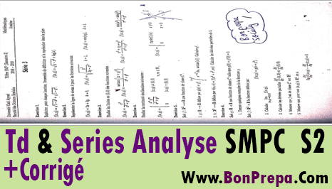 Td / Séries / Exercices Corrigés Analyse 2 SMPC S2