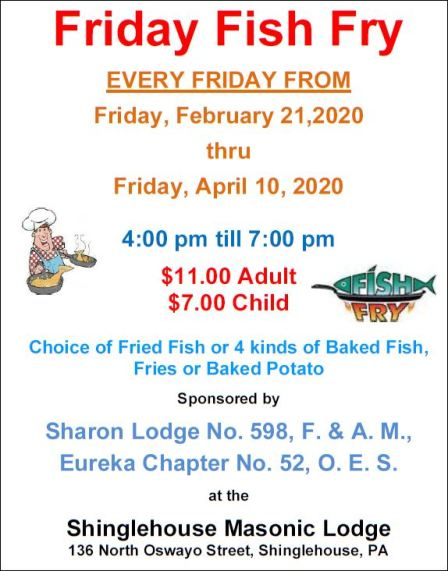 2-21 thru 4-10 Friday Fish Fry, Shinglehouse