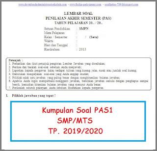 Soal UAS SMP/MTS Kelas 8 Semester 1 K13 Tahun 2019/2020