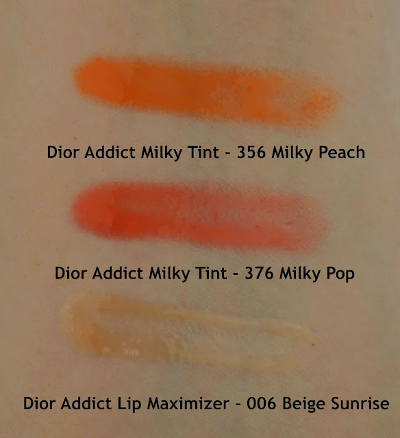 Dior Addict Milky Tint Milky Pop Milky Peach Lip Maximizer Beige Sunrise Review Swatches