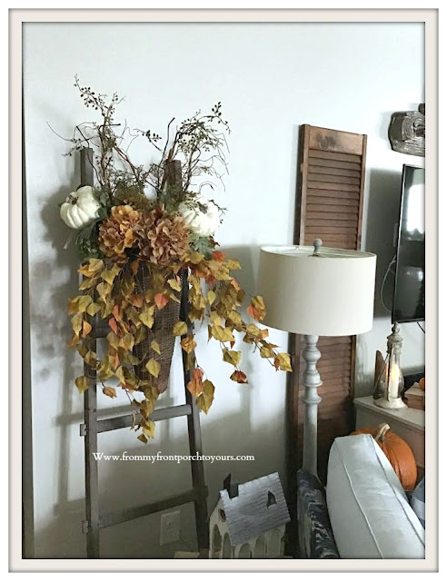 Flower-Arrangement-Pumpkins-French- Country -Farmhouse-Living- Room- Fall- Decor-From My Front Porch To Yours