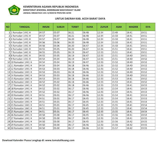 jadwal imsakiyah ramadhan buka puasa kabupaten aceh barat daya 2020 m 1441 h tomatalikuang.com