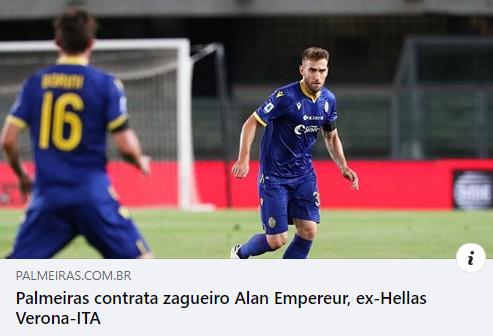 Tem reforço no #MaiorCampeãoDoBrasil. Bem-vindo, Alan Empereur ➤ https://bit.ly/35cbCZr  #AvantiPalestra (S.E. Palmeiras no Twitter)