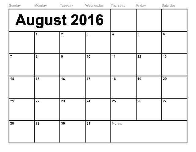 august 2016 printable calendar, august calendar printable 2016, august ...