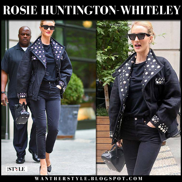 Rosie Huntington-Whiteley in black studded jacket isabel marant emmetis and black skinny jeans paige model style june 3