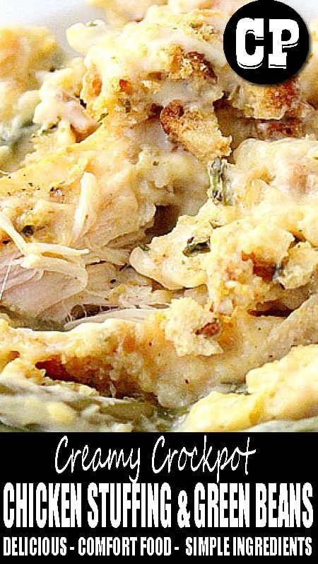 Creamy #Crockpot Chicken Stuffing and Green Beans