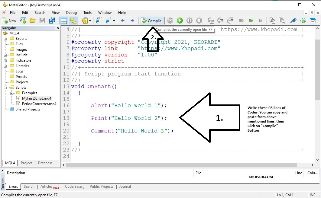 Compile the Hello World Program in MQL4 with MetaEditor