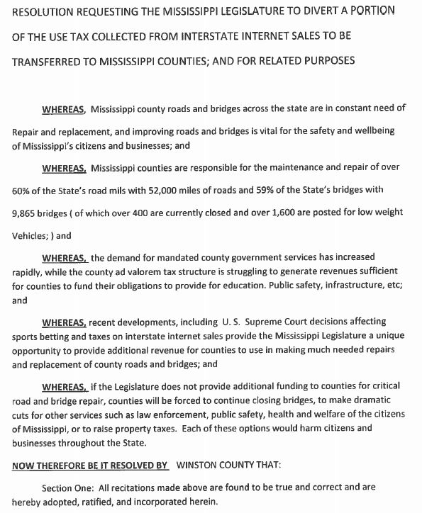 Winston County Ms: COUNTY RESOLUTION - AUGUST 6, 2018
