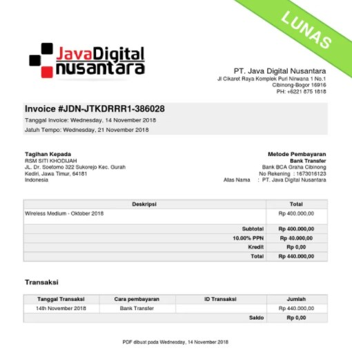 contoh invoice pelunasan