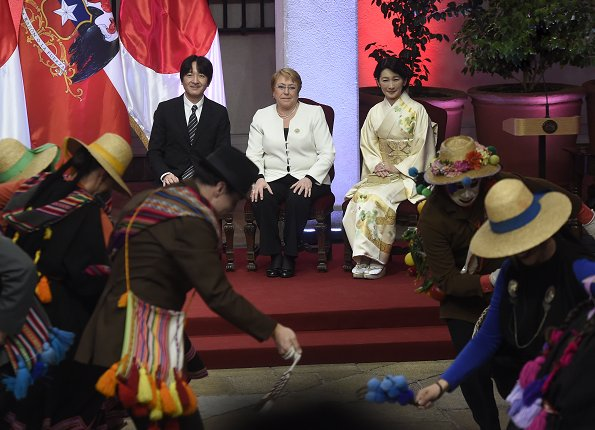 Japan's Prince Akishino and Princess Kiko and Michelle Bachelet attended the ceremony for between Chile and Japan