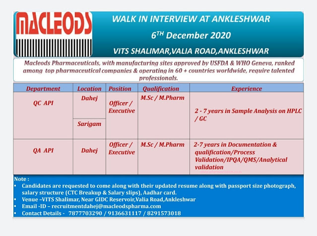Macleods | Walk-in interview for QC/QA 6th Dec 2020