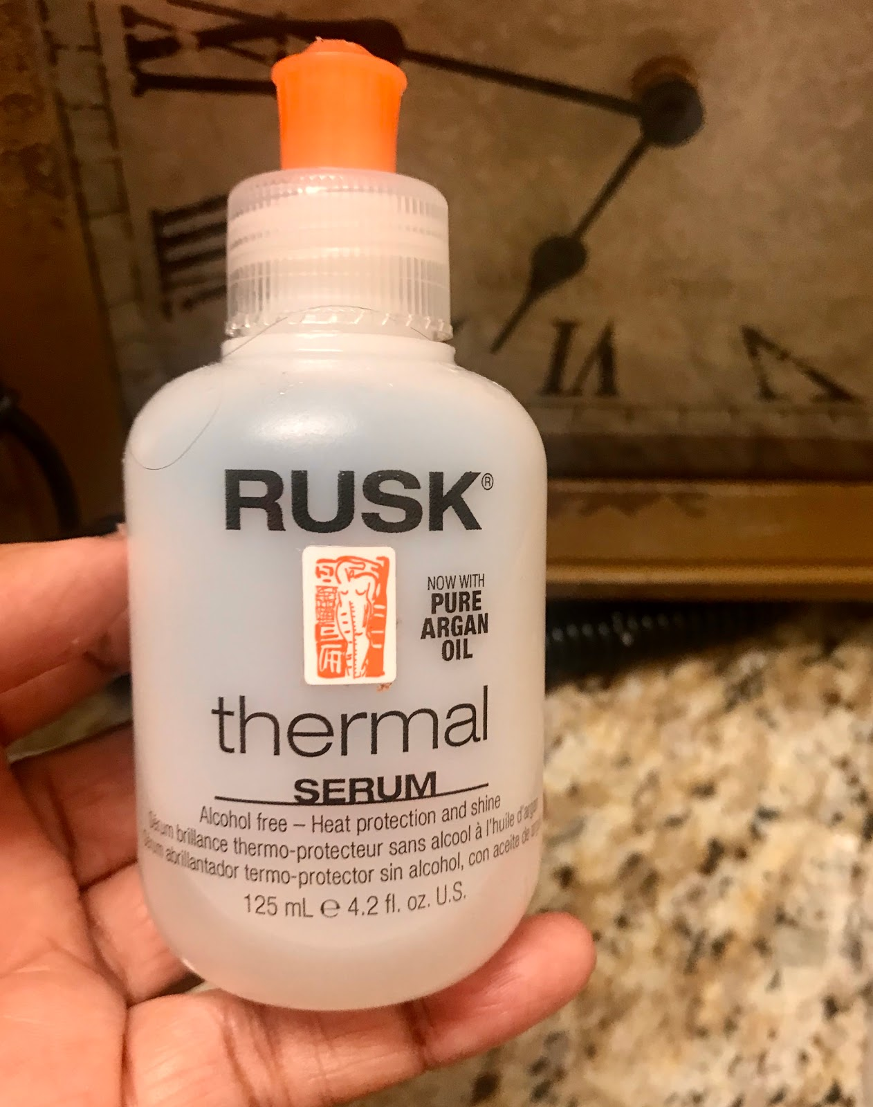 Rusk Thermal hair serum. Also, I am always buying things to keep my hair at bay from the brittle winds from the winter. So, it is a must to have an oil or serum on hair for dry hair.
