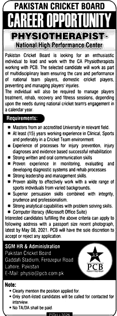 Pakistan Cricket Board PCB Latest Jobs For Head coach, Chief Risk Officer & Other Posts 2021-Apply Online
