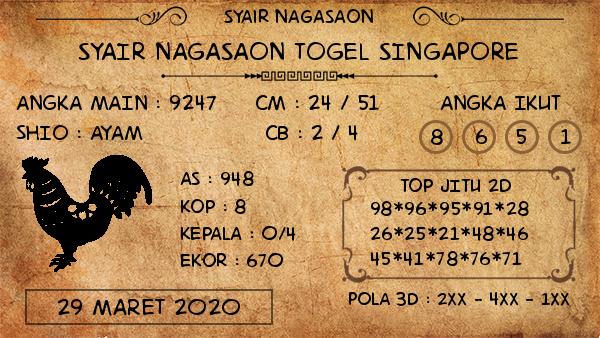 Prediksi Togel Singapura Minggu 29 Maret 2020 - Nagasaon SGP