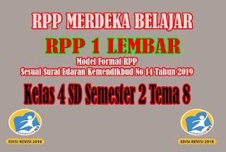 RPP Merdeka Belajar SD Kelas 4 Semester 2. RPP 1 Lembar SD Kelas 4 Semester 2 Tema 8