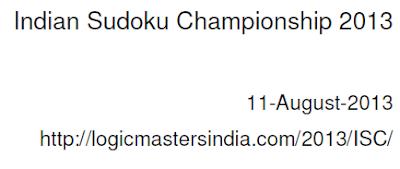 Indian Sudoku Championship 2013