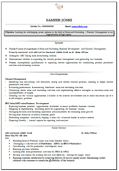 Sales+&+Marketing+Resume+Format+(1) Sales Resume Format Free Download on
