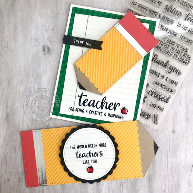 Sunny Studio Stamps: Teacher Appreciation Fishtail Banner Dies Cards by Tammy Stark