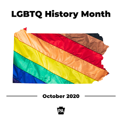 Outline of the state of Pennsylvania covered with a rainbow flag. Text reads LGBTQ History Month, October 2020