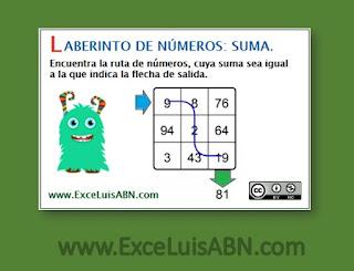 Laberinto de números: suma.