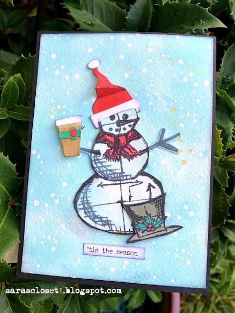 Sara Emily Barker https://sarascloset1.blogspot.com/ Tim Holtz Stampers Anonymous Sizzix Christmas Card 1
