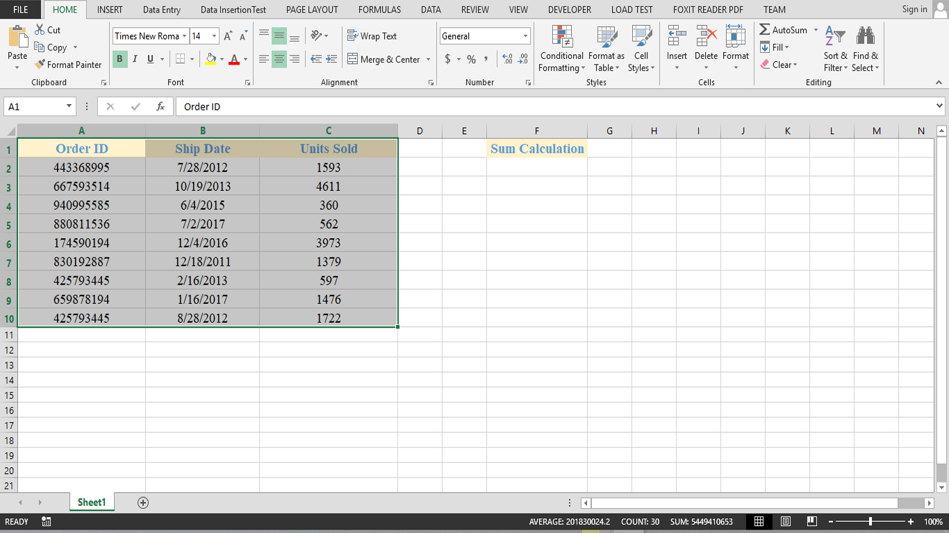 How To Use Basic Sum Function In Excel