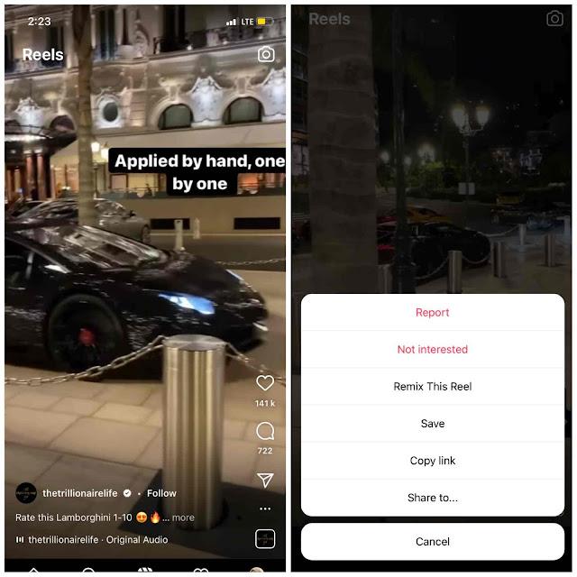Copy link from Instagram reel