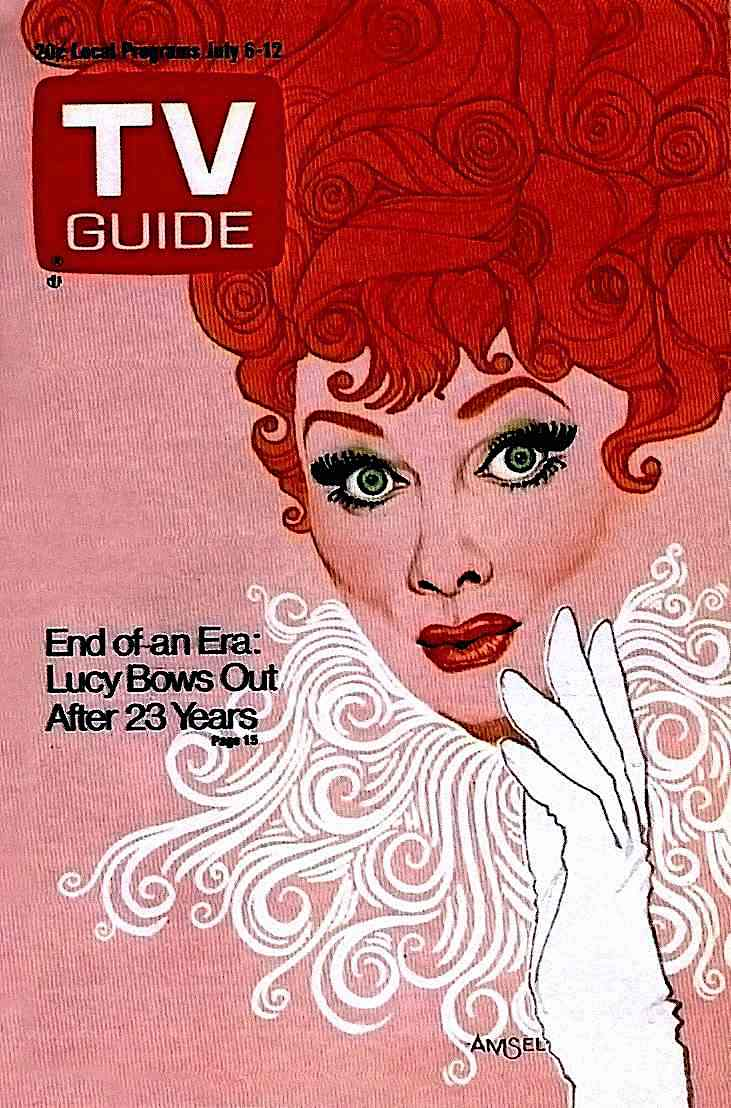 a Richard Amsel illustration of Lucille Ball in 1973 for TV Guide Magazine July 6-12