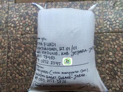 Benih padi yang dibeli   THOHA FUADI Jepara, Jateng.  (Setelah packing karung ).