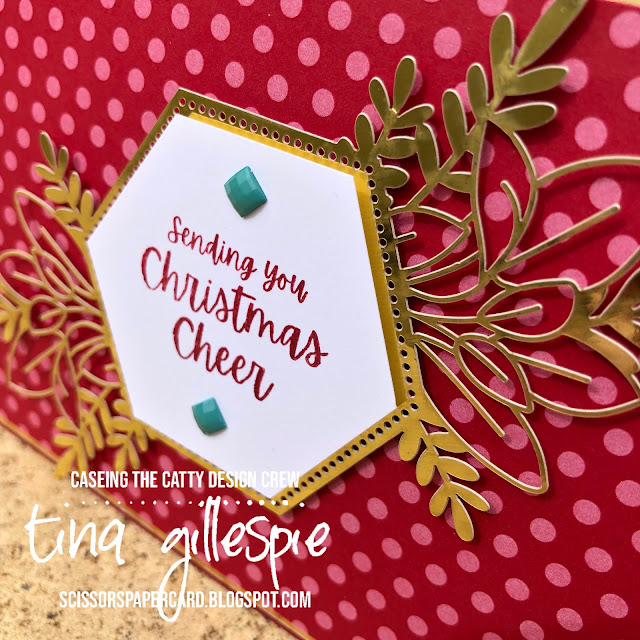 scissorspapercard, Stampin' Up!, CASEing The Catty, Words Of Cheer, Forever Gold SP, Regals DSP, Christmas Card