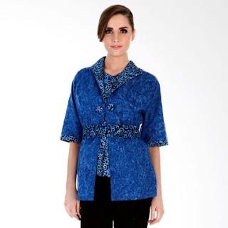 Model Baju Batik Kerja Kombinasi Polos Modern