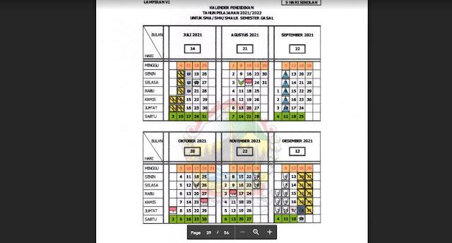 Pedoman Penyusunan Kalender Pendidikan Tahun Pelajaran 2021/2022