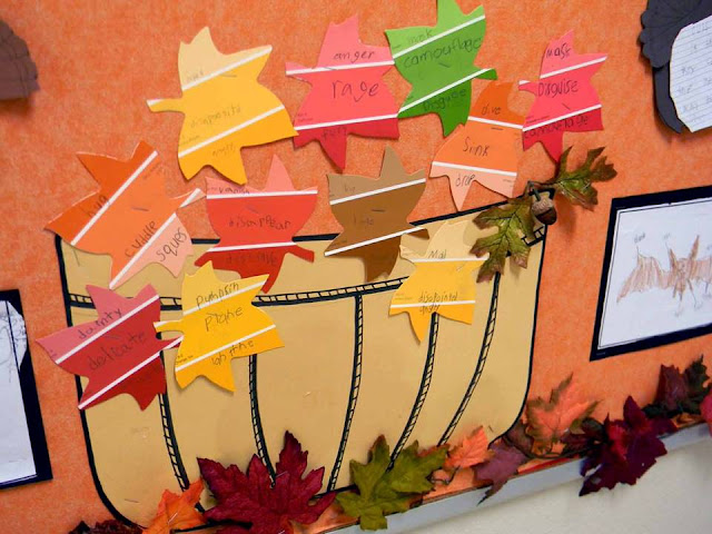 Fall bulletin board ideas with paint chips
