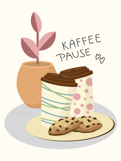 Kaffeepause, Vektorillustration, Vector, Graphic