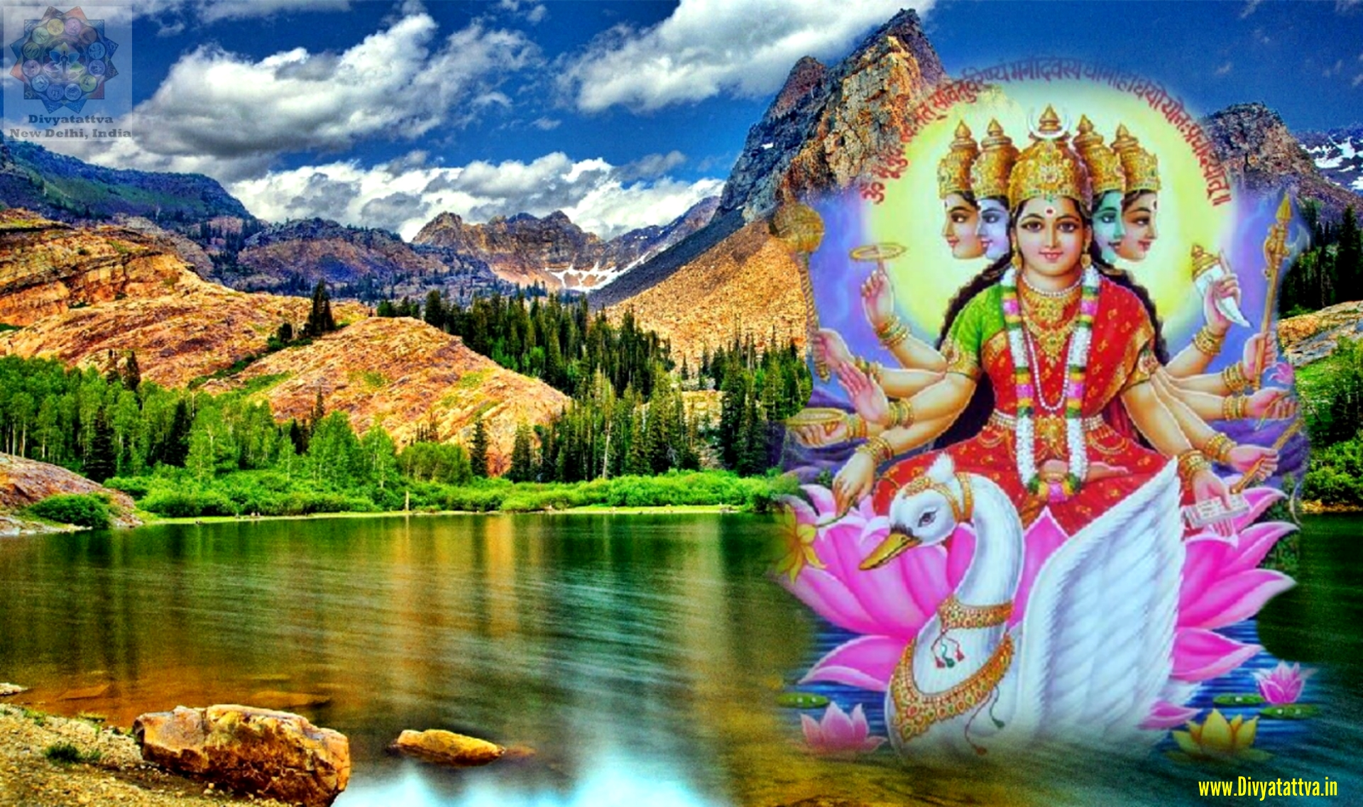 Gayatri Goddess 4K UHD Wallpaper, Gayatri Mata Wallpaper for Desktop Download