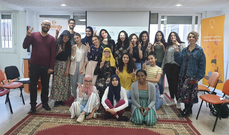 Participants of the Young Peacebuilders programme with the IYF Country Team in Morocco