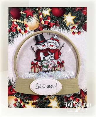 Our Daily Bread Designs Stamp Set: Snowman Family, Paper Collection: Christmas 2017, Custom Dies: Snow Globe, Pierced Rectangles