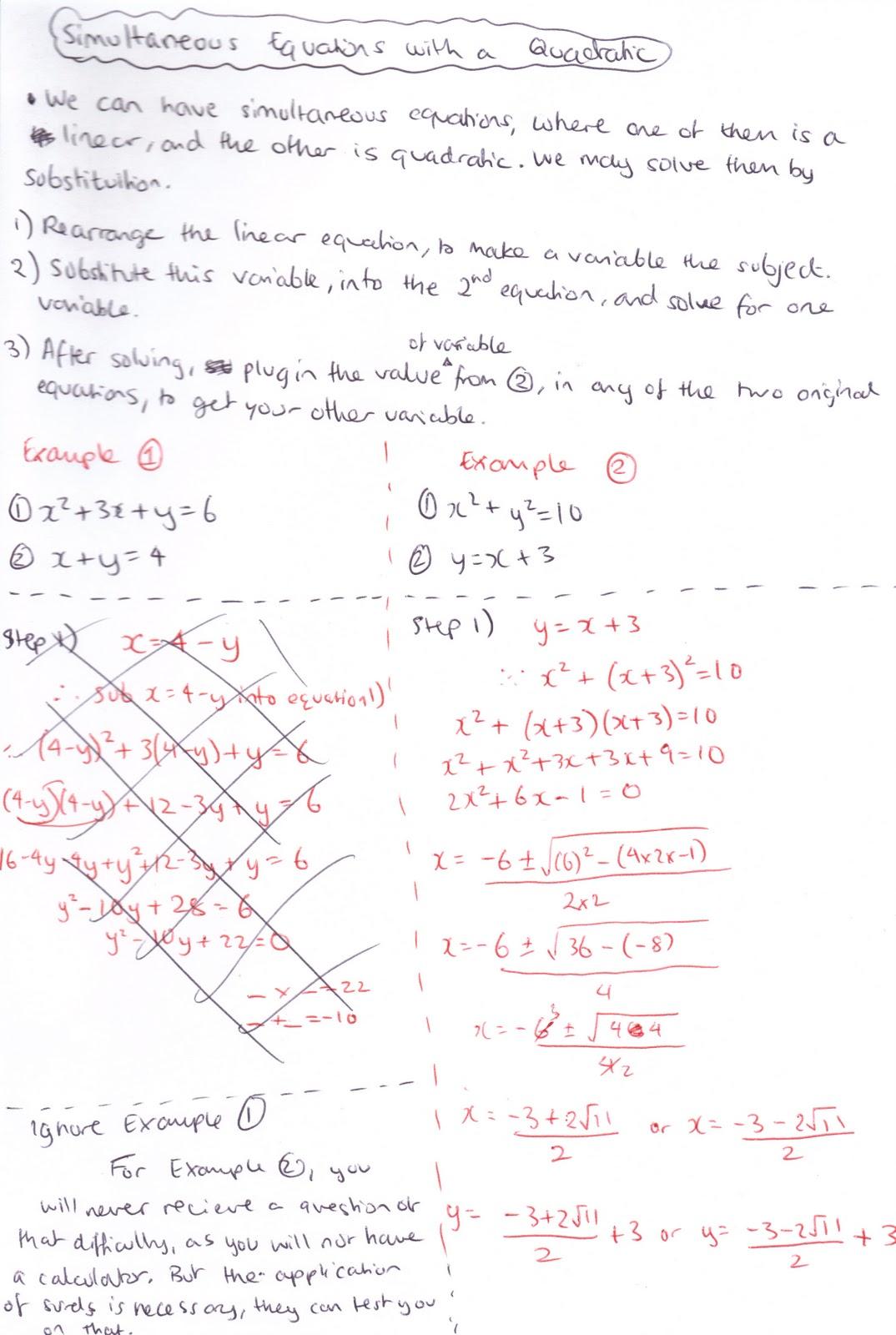 Quadratic Simultaneous Equations Examples