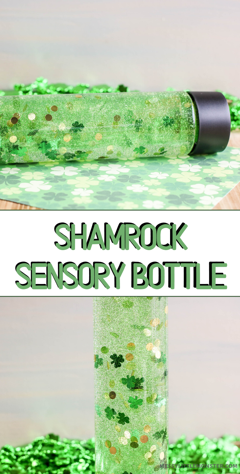 St Patricks Day sensory bottle. Sensory bottles for toddlers are easy to make and fun to use.