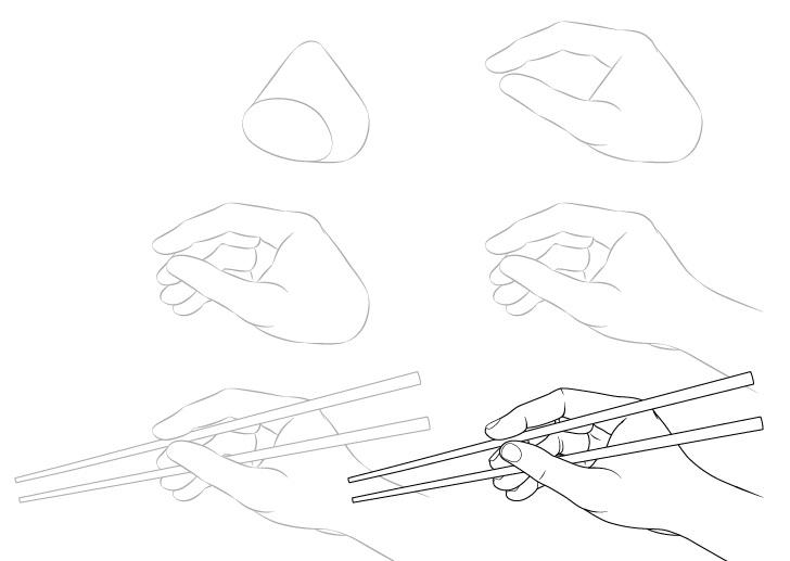 Tangan memegang sumpit gambar tampilan samping selangkah demi selangkah