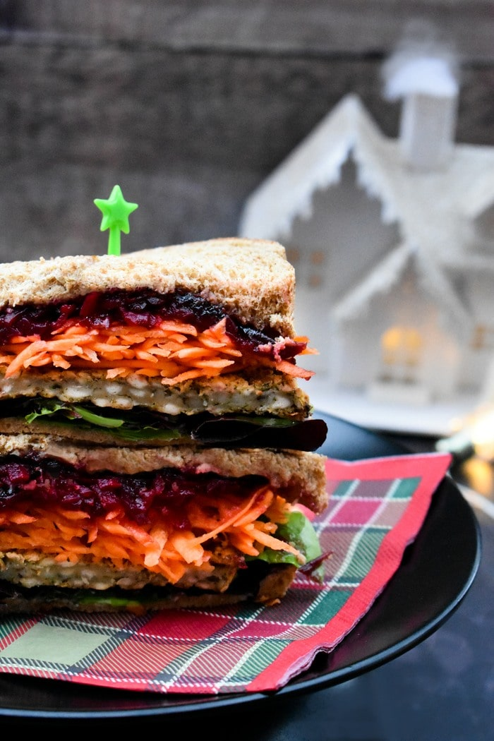 Close up of Vegan Christmas Feast Sandwich
