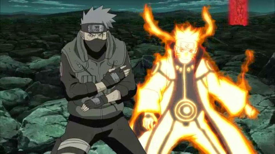 Kakashi y Naruto modo bijuu
